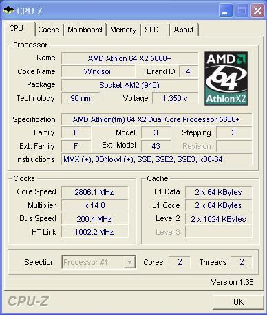 CPU-Z 1 Dell E521 X2 5600+